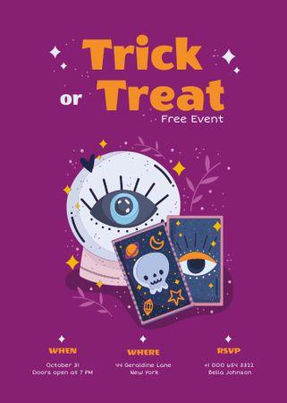 Halloween Event Ad with Magic Ball and Tarot Cards Invitation – шаблон для дизайна