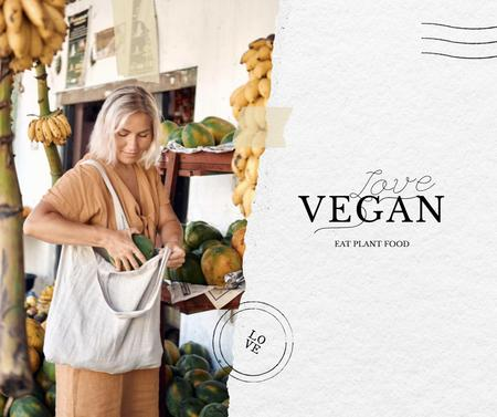 Vegan Lifestyle Concept with Woman holding Eco Bag Facebookデザインテンプレート