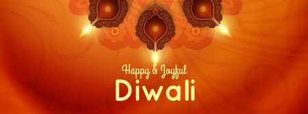 Diwali Greeting with Festive Candles Facebook cover Design Template