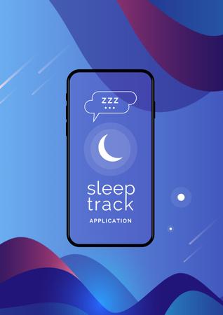 Sleep Tracker App on Phone Screen Poster Design Template