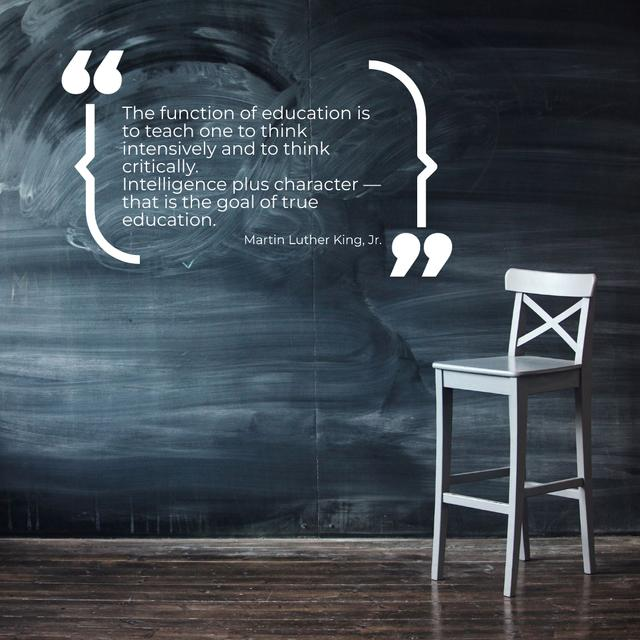 Chalkboard with empty chair and Motivational Quote Instagram Design Template