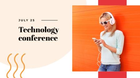 Technology Conference with Woman using Headphones FB event coverデザインテンプレート