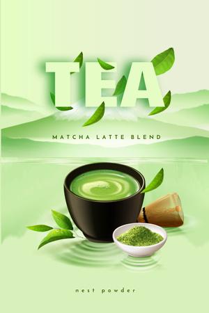 Matcha Latte in Cup Pinterest Design Template