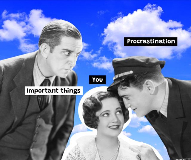 Procrastination concept with vintage photo Facebook – шаблон для дизайну