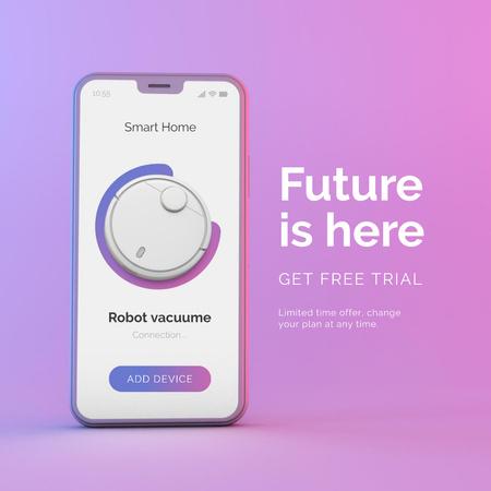 Ontwerpsjabloon van Instagram van New Robot Vacuum App Announcement