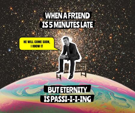 Funny Joke about Waiting Man Facebook Modelo de Design