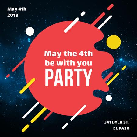 Star Wars Day party invitation on space background Instagram ADデザインテンプレート