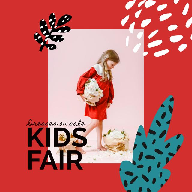 Kids Fair Sale Announcement with Little Girl and Flowers Instagram Design Template