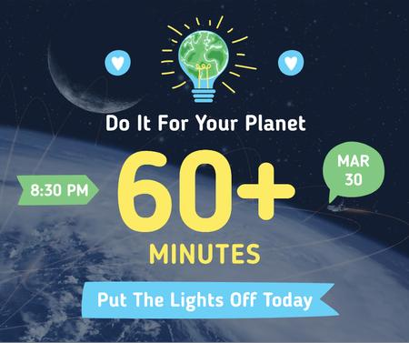 Earth hour announcement with planet view Facebook Modelo de Design