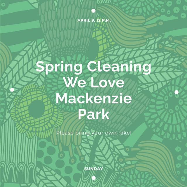 Spring Cleaning Event Invitation Green Floral Texture Instagram AD – шаблон для дизайну