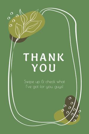 Modèle de visuel Thank You card with Tropical Leaves - Pinterest
