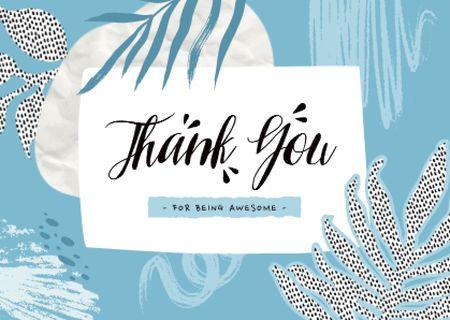 Ontwerpsjabloon van Card van Thankful Phrase with Creative Leaves Illustration