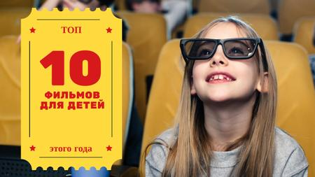 Movies for Kids Girl in Cinema in 3D Glasses Youtube Thumbnail – шаблон для дизайна