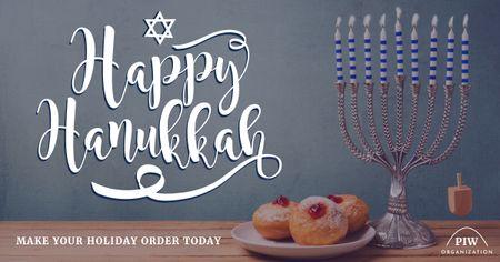 Template di design Happy Hanukkah greeting with Menora Facebook AD