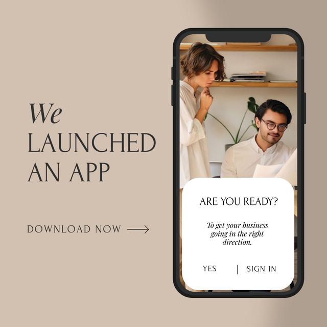 Designvorlage Business Team Launching App für Instagram AD