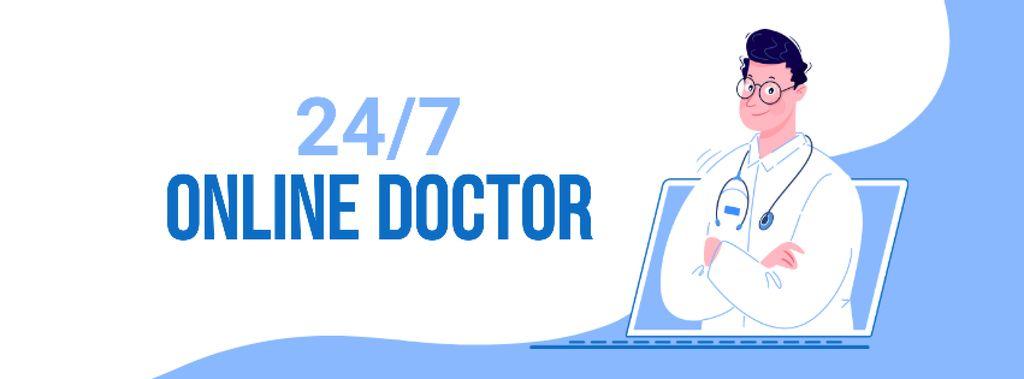 Modèle de visuel Online Medical Support - Facebook cover