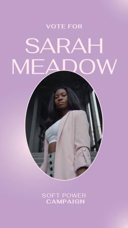 Designvorlage Campaign Election Announcement with Confident Woman für Instagram Video Story