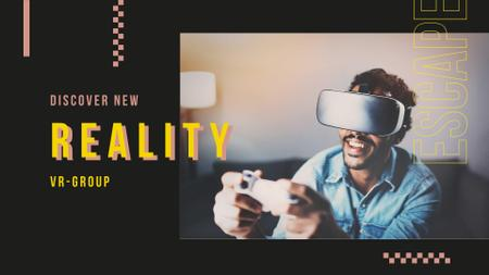 Plantilla de diseño de VR Ad with Man enjoying Virtual Reality FB event cover