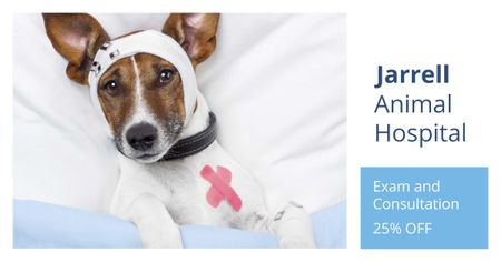 Ontwerpsjabloon van Facebook AD van Cute Dog in Animal Hospital