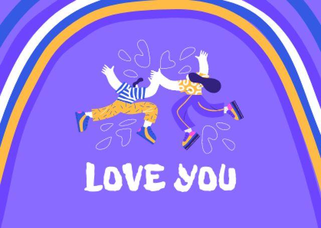 Love Phrase with Cute Couple and Rainbow Card – шаблон для дизайну