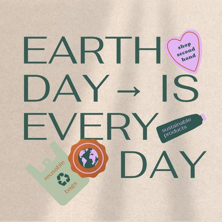 Earth Day Concept with Sustainable Products illustration Instagramデザインテンプレート