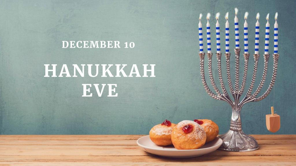 Hanukkah Holiday with Festive Menorah FB event cover – шаблон для дизайна