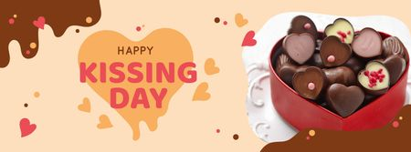 Kissing Day Announcement with Hear-Shaped Candies Facebook cover Design Template