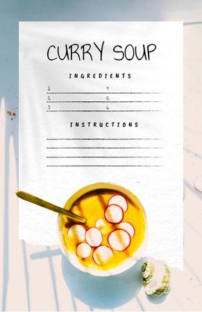 Template di design Delicious Curry Soup in Bowl Recipe Card