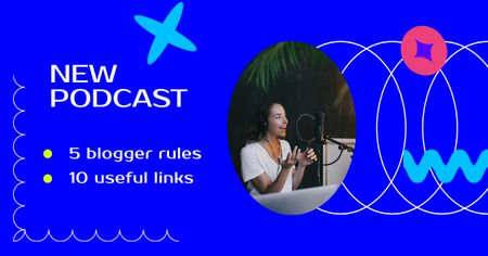 Template di design Podcast Announcement with Woman talking in Studio Facebook AD