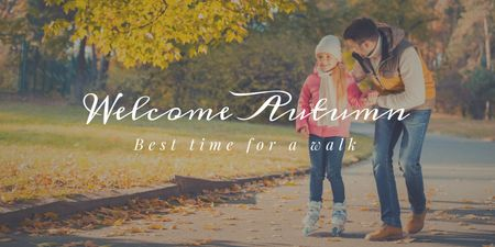 Mother with Daughter walking in Autumn Park Twitter – шаблон для дизайна