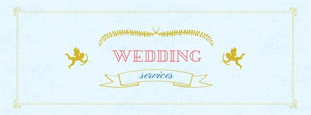 Plantilla de diseño de Wedding Services Offer with Cupids Facebook cover