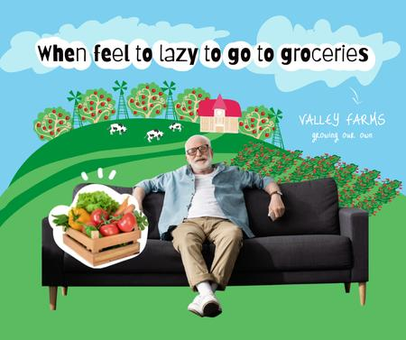 Template di design Farm Food Ad with Old Man sitting on Sofa Facebook