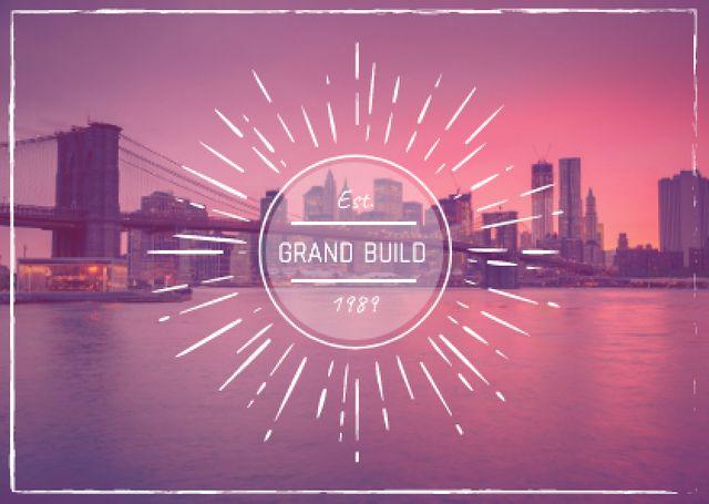 Real Estate Ad with Big City View Card Modelo de Design