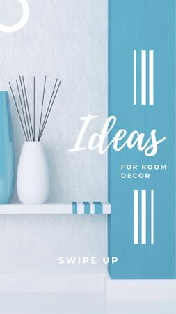 Designvorlage Room Decor Ideas Ad with Minimalistic Vases für Instagram Story