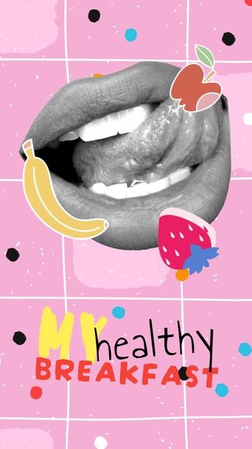 Plantilla de diseño de Funny Female Lips with Fruits Illustration Instagram Story