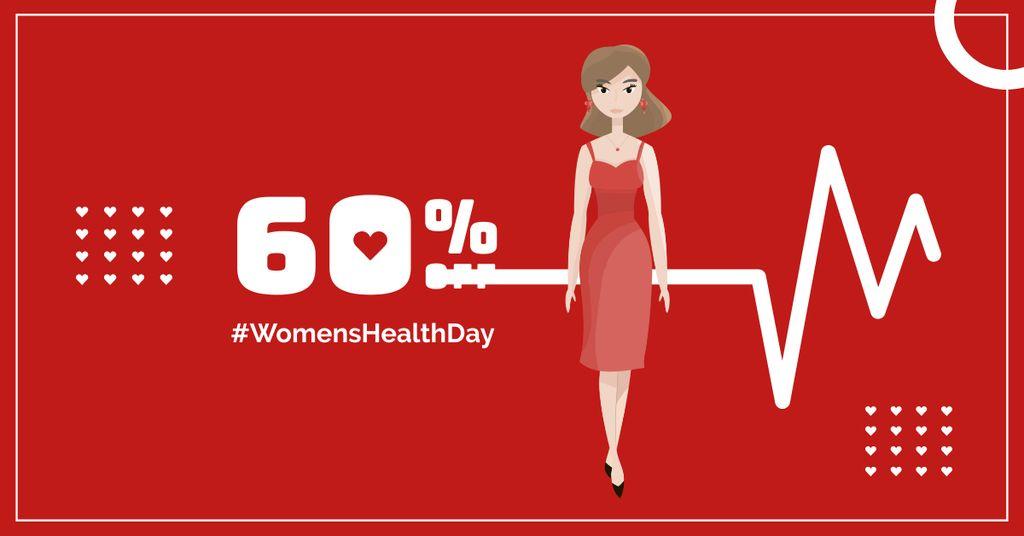 Women's Health Day with Woman in red — Создать дизайн
