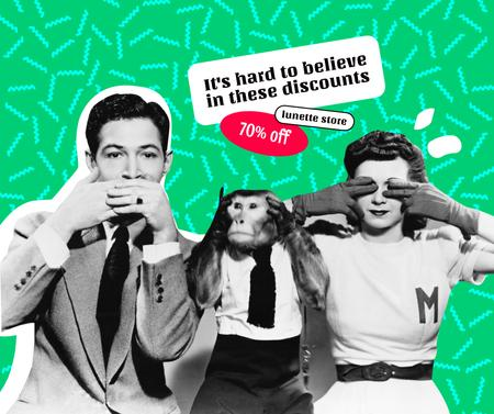 Sale Discount Announcement with Funny People and Monkey Facebookデザインテンプレート