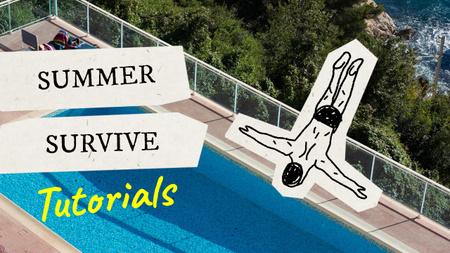 Drawn Character jumping into Swimming Pool Youtube Thumbnail – шаблон для дизайна
