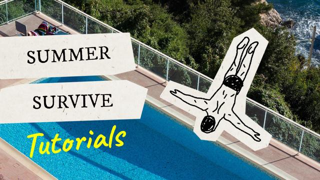 Drawn Character jumping into Swimming Pool Youtube Thumbnail Šablona návrhu
