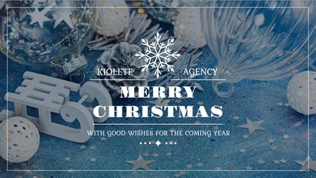 Plantilla de diseño de Christmas Greeting with Shiny Decorations in Blue Youtube