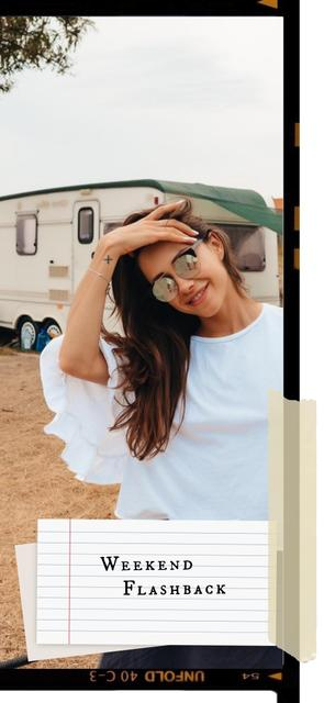 Stylish Woman with Vintage Travel Trailer Snapchat Geofilter Design Template