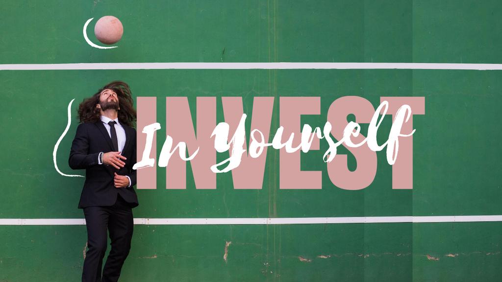 Manhood Inspiration with Businessman throwing Ball Youtube Thumbnail Modelo de Design