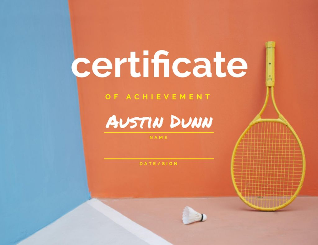 Plantilla de diseño de Badminton Achievement Award with Racket and Shuttlecock Certificate