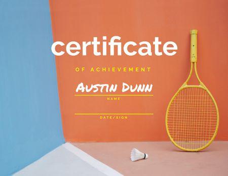 Badminton Achievement Award with Racket and Shuttlecock Certificate Design Template