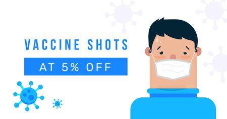 Modèle de visuel Vaccine concept with Man wearing mask - Facebook AD