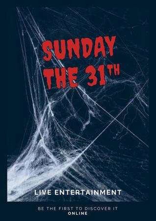 Halloween Event Announcement with Spooky Spiderweb Poster – шаблон для дизайну