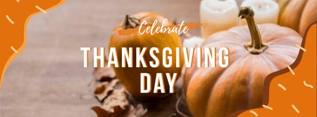 Plantilla de diseño de Thanksgiving Day Greeting with Pumpkins Facebook cover
