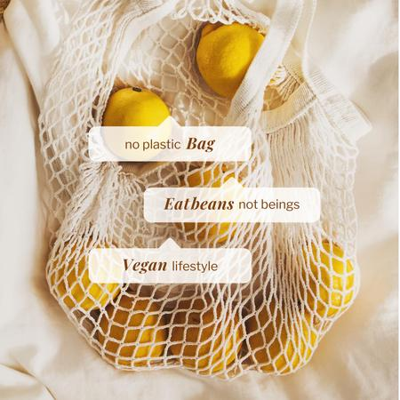 Vegan Lifestyle Concept with Lemons in Eco Bag Instagram Tasarım Şablonu