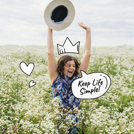 Mental Health Inspiration with Happy Girl Instagramデザインテンプレート