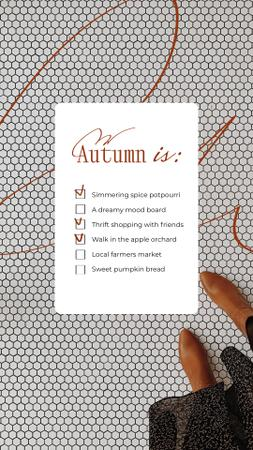 Autumn Inspirational List with Woman in Stylish Boots Instagram Story Modelo de Design